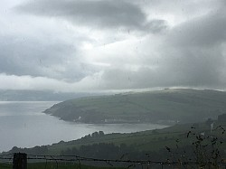 View from Torr Head looking at Cushendun in distance bay.